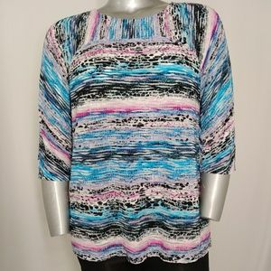 Dana Buchman Striped Flock & Sheer 3/4 Blouse XL